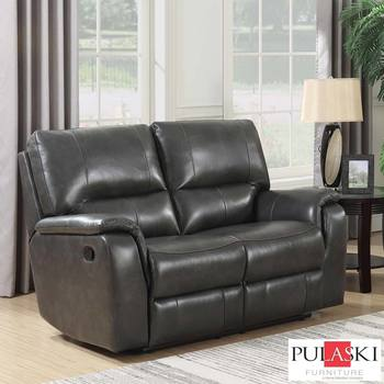 Pulaski 2 Seater Grey Leather Manual Recliner Sofa