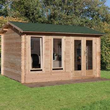 "Installed Forest Garden Chiltern 34mm Log Cabin 13ft 1"" x 9ft 8"" (4.0 x 3.0 m)"