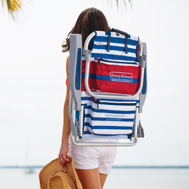 Tommy Bahama Backpack Folding Beach Chair In Red Amp Blue