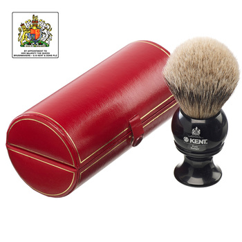 Kent Brushes Large, Pure Silver-Tipped Badger Shaving Brush in 2 Colours