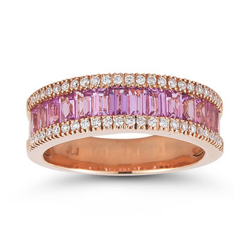 2.00ctw Pink Sapphire and 0.23ctw Diamond, 18ct Rose Gold Ring