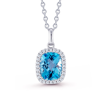 1.85ctw Blue Topaz, 0.10ctw Diamond and 18ct White Gold Necklace