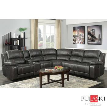 Pulaski Dunhill Grey Leather Power Reclining Sectional Sofa