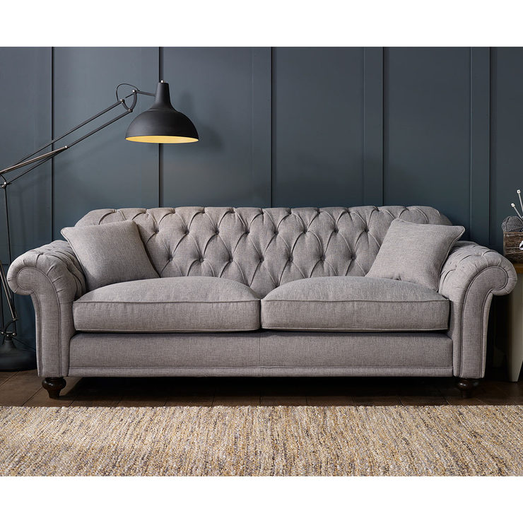 Bordeaux Button Back 4 Seater Grey Fabric Sofa With 2 Accent Pillows