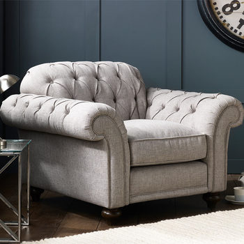 Bordeaux Button Back Grey Fabric Armchair