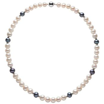 8-8.5mm Cultured Freshwater Black and White Pearl Necklace, 18ct White Gold