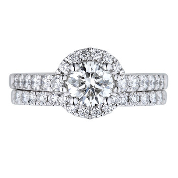 1.26ctw Round Brilliant Cut Diamond Wedding Ring Set, Platinum