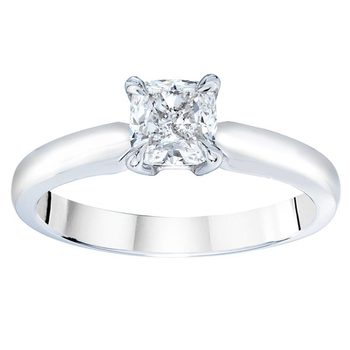 1.00ct Cushion Cut Diamond Solitaire Ring, Platinum