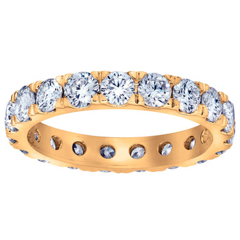 2.00ctw Round Brilliant Cut Claw Set Diamond Eternity Ring, 18ct Yellow Gold in 6 Sizes