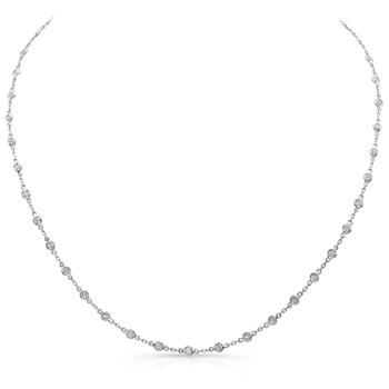 1.50ctw Round Brilliant Cut Spectacle Diamond Set Necklace, 18ct White Gold