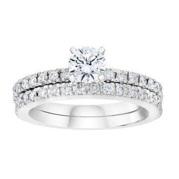 1.40ctw Round Brilliant Cut Diamond Wedding Ring Set, Platinum