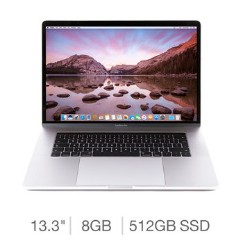Apple MacBook Pro Retina with Touch Bar MR9V2B/A, Intel Core i5, 8GB RAM, 512GB Solid State Drive, 13.3 Inch Notebook in Silver