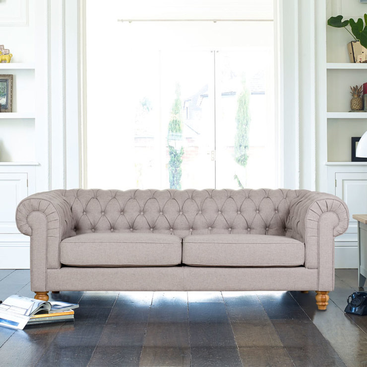 Chesterfield 4 Seater Fabric Sofa Dove Grey