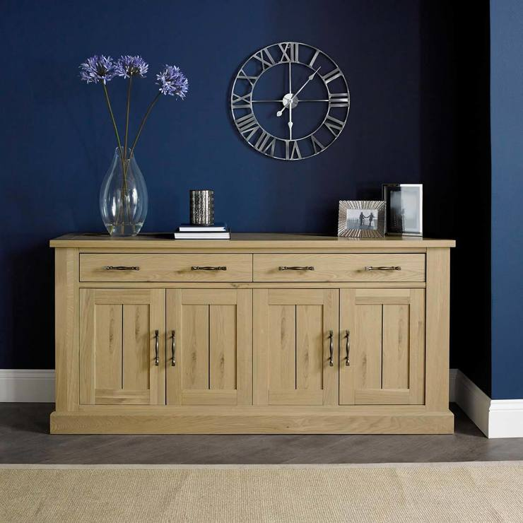 Bentley Designs Chartreuse Aged Oak 4 Door Sideboard