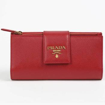 Prada Women's Medium Red Saffiano Leather Wallet