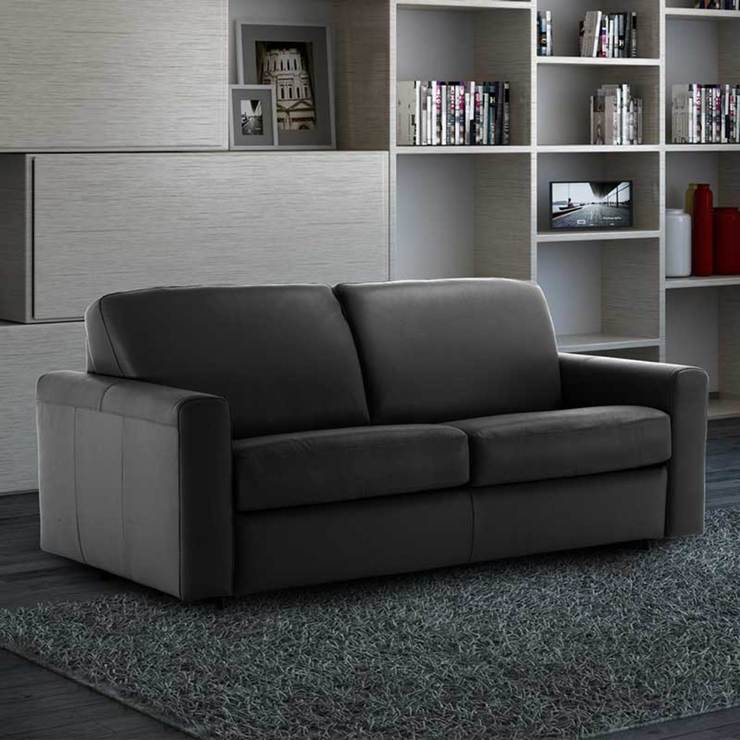 florence 3 seater italian leather sofa bed with foam mattress black