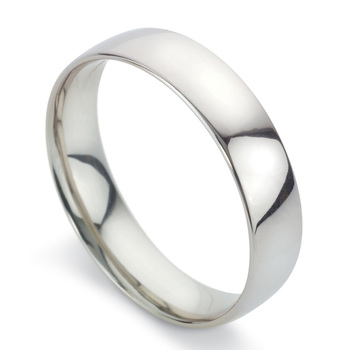 Gents 5mm Court Wedding Band, Platinum in 3 Sizes