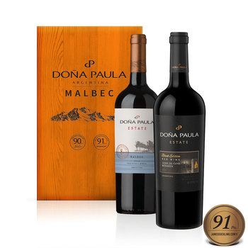 Dona Paula Estate Malbec Wine Selection in Wooden Gift Box, 2 x 75cl
