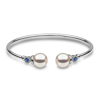 9.5-10mm White Cultured Freshwater Pearl, 0.21ctw Blue Sapphire and 0.1ctw Diamond Bangle, 18ct White Gold