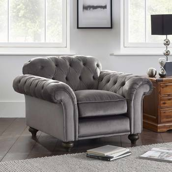 Bordeaux Button Back Grey Velvet Armchair