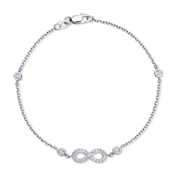 0.23ctw Round Brilliant Cut Diamond Infinity Bracelet, 18ct White Gold
