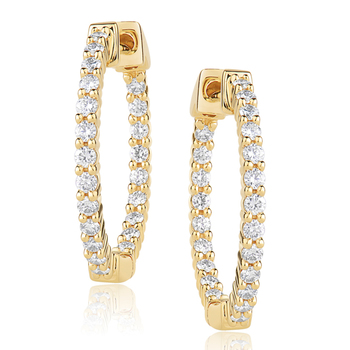 0.40ctw Round Brilliant Cut Diamond Hoop Earrings, 18ct Yellow Gold