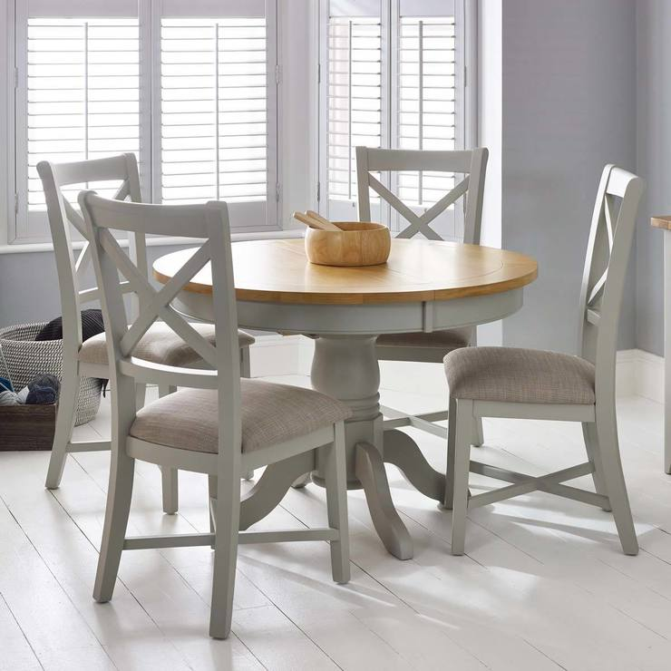 Bordeaux Painted Light Grey Round Extending Dining Table + 4 Chairs, Seats 4  6