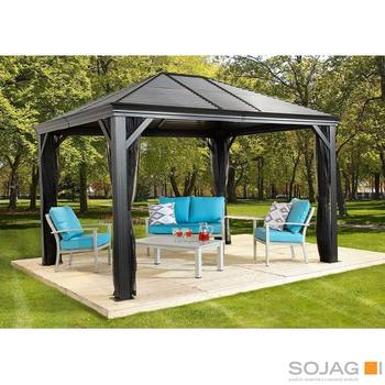 Sojag Mykonos 12ft x 16ft (3.53 x 4.74m) Aluminium Frame Sun Shelter with Galvanised Steel Roof + Insect Netting
