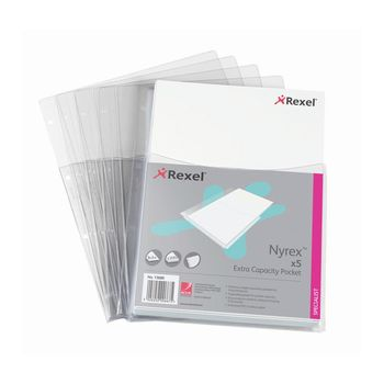 Rexel 5pk Nyrex A4 Extra Capacity Plastic Pockets - Pack of 5
