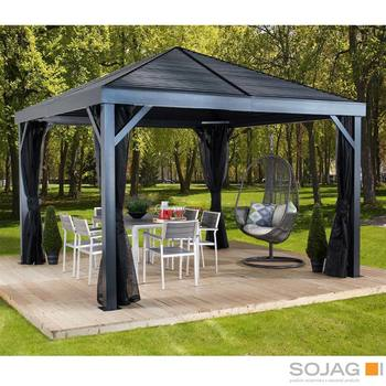 Sojag South Beach 12ft x 12ft (3.64 x 3.64m) Sun Shelter with Galvanised Steel Roof + Insect Netting