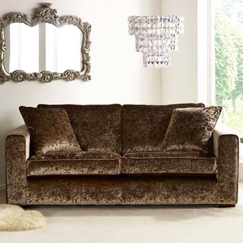 Parq 3 Seater Sofa with 2 Accent Pillows in Truffle Crushed Velvet
