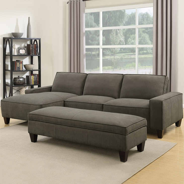 Delicieux Orion 2 Piece Grey Fabric Sofa Chaise With Storage Ottoman