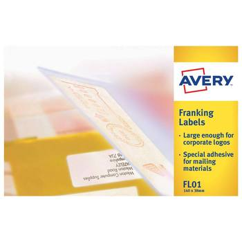 Avery Franking Labels 38.0 x 140.0mm, FL01, Pack of 1000