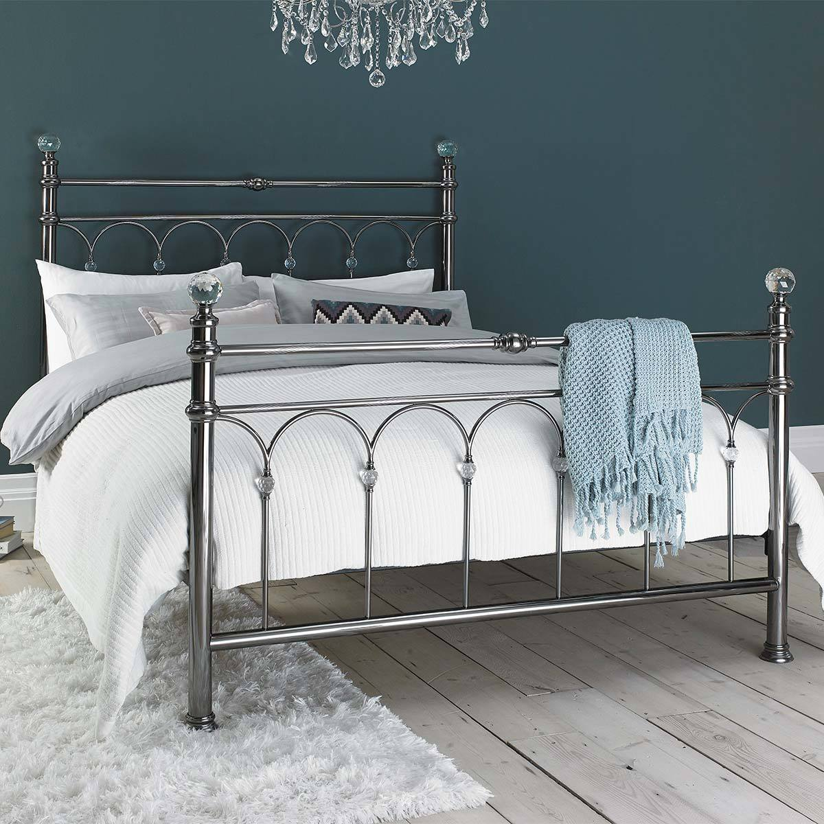 Picture of: Bentley Cristina Antique Nickel Finish Metal Bed Frame King Size Costco Uk