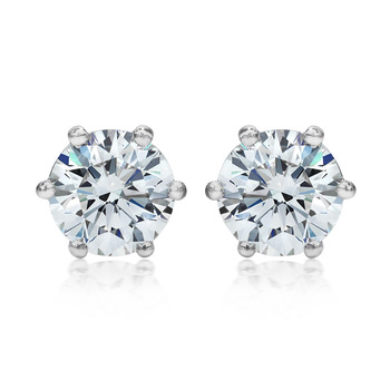3.00ctw Round Brilliant Cut Diamond Platinum Stud Earrings