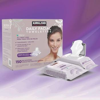 Kirkland Signature Daily Facial Towelettes, 150 Wipes