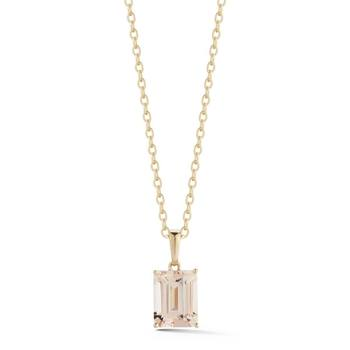 1.95ct Emerald Cut Morganite Pendant, 18ct Yellow Gold