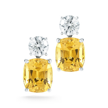 5.05ct Cushion Shape Yellow Sapphire Earrings With Diamonds