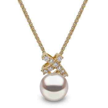 9-9.5mm White Cultured Freshwater Pearl and 0.16ctw Diamond Pendant, 18ct Yellow Gold