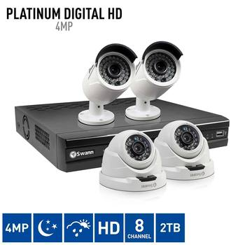 Swann NVR8-4700 8 Channel Network Video Recorder with 2 x NHD-818 Bullet Cameras and 2 x NHD-819 Dome Cameras