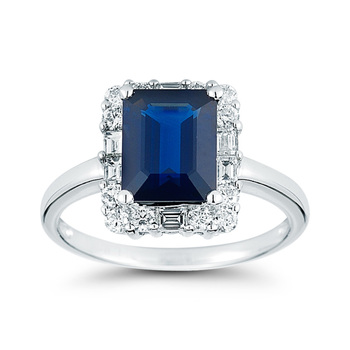 2.85ct Blue Sapphire with 0.65ctw Diamond Ring, 18ct White Gold