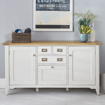 Bordeaux Painted Ivory Large Wooden Sideboard