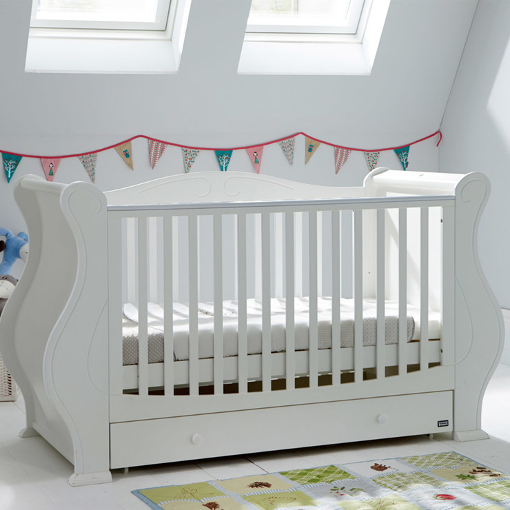 tutti bambini louis cot bed in white   sprung mattress