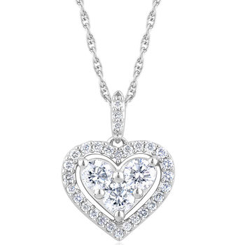 0.50ctw Round Brilliant Cut Diamond Heart Pendant, 18ct White Gold
