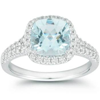 1.77ctw Cushion Cut Aquamarine and 0.43ctw Diamond Ring, 18ct White Gold