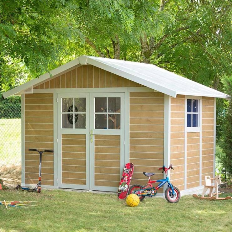 grosfillex sherwood 10ft 2 x 7ft 9 31 x 24m shed in oakwhite model sherwood 75