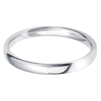 Ladies 2.5mm Court Wedding Band in 18ct White Gold in 3 Sizes