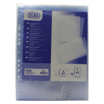 Elba Polypropylene A3 Upright Clear Pockets - Pack of 100