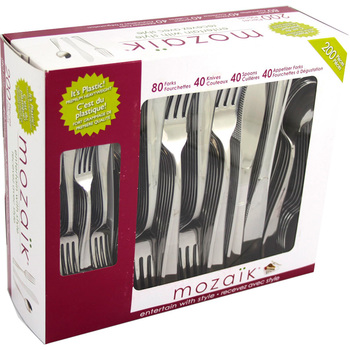 Mozaik Disposable Cutlery Set, 200 Pieces