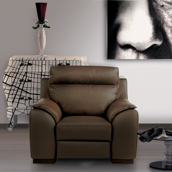 Calia Italia Serena Power Recliner Brown Italian Leather Armchair